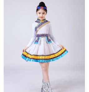 Girls Mongolian costumes kids Chinese folk dance costumes stage performance ancient drama anime cosplay dresses